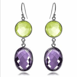 Peridot And Amethyst Double Drop Earrings